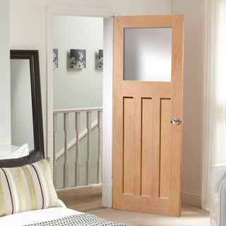 Image: DX Oak Door with Obscure Safety Glass, 1930's Style