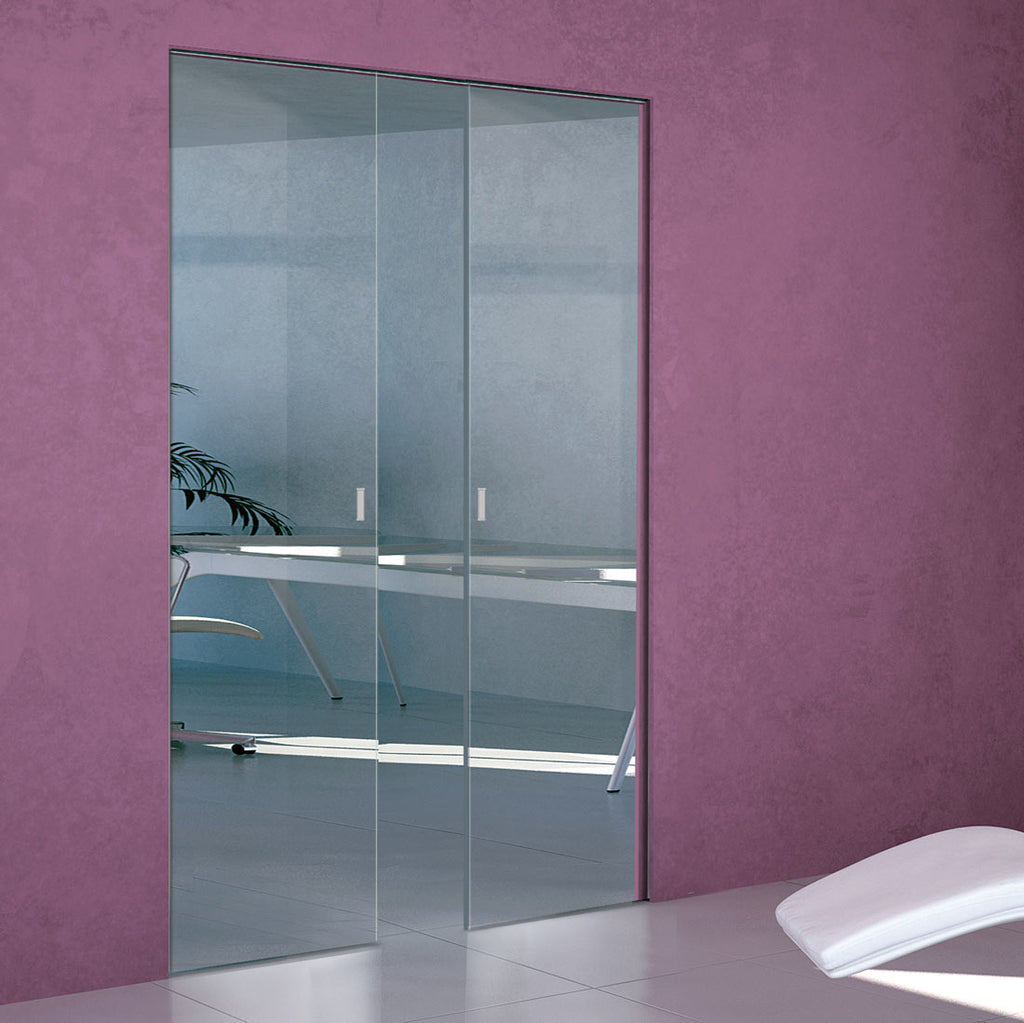 Moor 8mm Clear Glass - Double Absolute Pocket Door