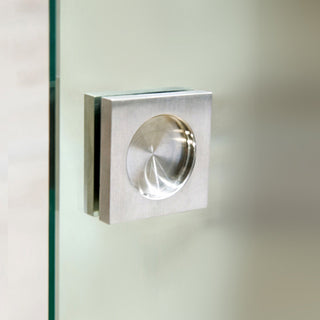 Image: Flush Pull Handles 60mm Brushed Stainless Steel  - Surface Fix For Full Pane Glass Doors