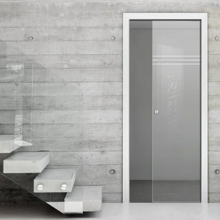 Image: Linton 8mm Clear Glass - Obscure Printed Design - Single Evokit Glass Pocket Door