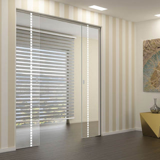 Image: Gifford 8mm Clear Glass - Obscure Printed Design - Double Absolute Pocket Door