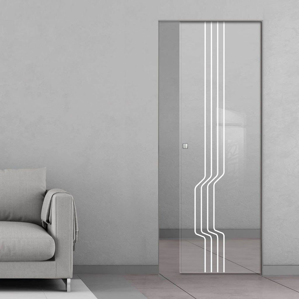 Polwarth 8mm Clear Glass - Obscure Printed Design - Single Absolute Pocket Door