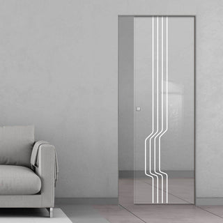 Image: Polwarth 8mm Clear Glass - Obscure Printed Design - Single Absolute Pocket Door
