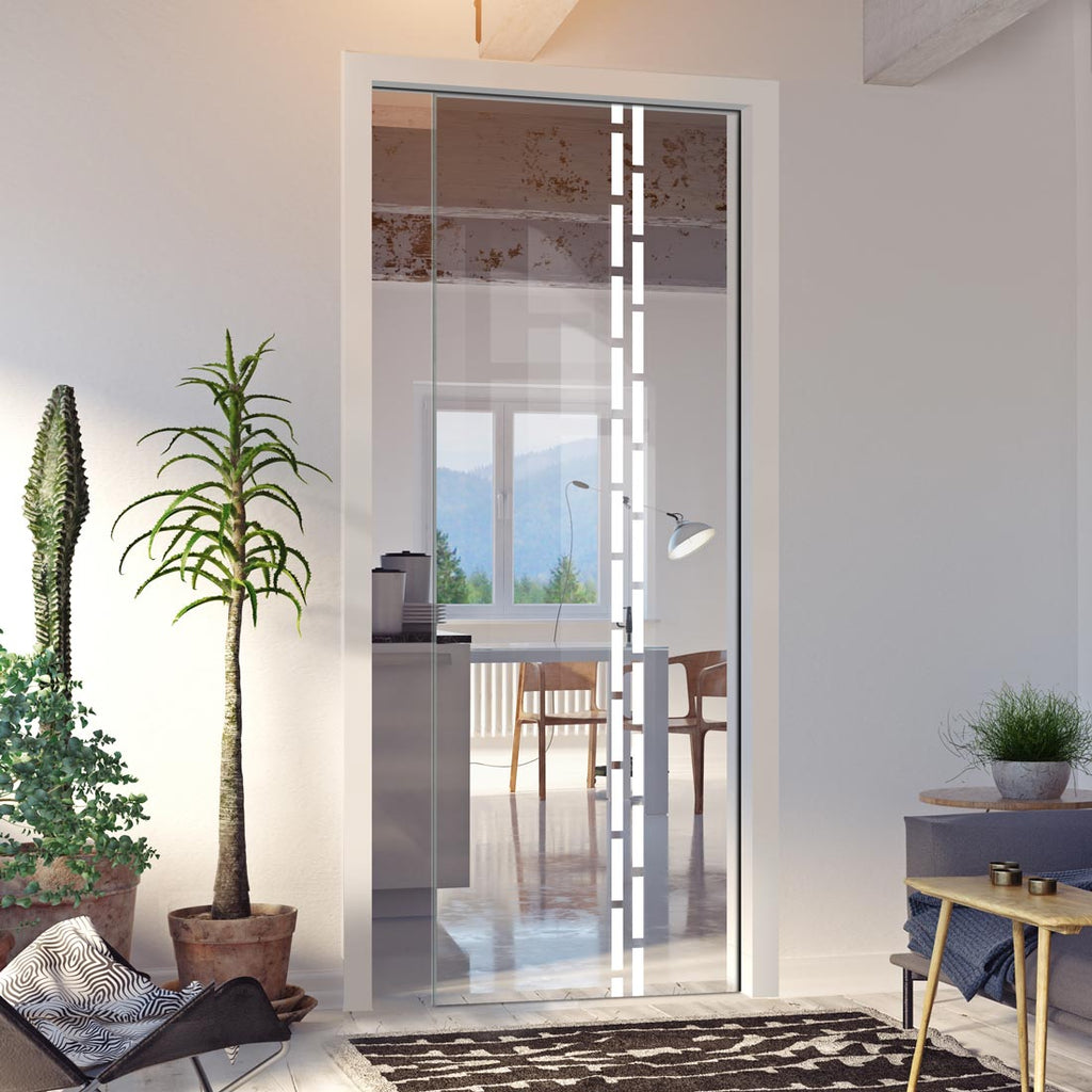 Inveresk 8mm Clear Glass - Obscure Printed Design - Single Evokit Glass Pocket Door