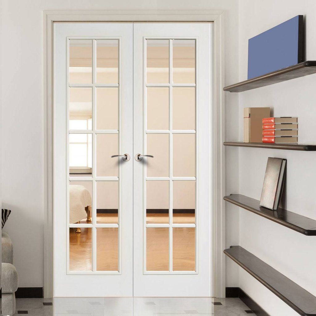 SA 10 Pane Moulded Grained White Door Pair - Clear Glass