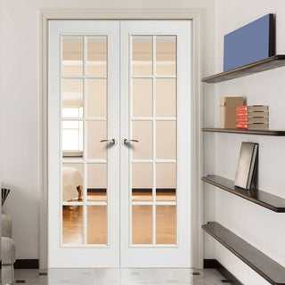 Image: SA 10 Pane Moulded Grained White Door Pair - Clear Glass