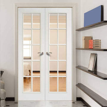 Genial SA 10 Pane Moulded Grained White Door Pair   Clear Glass