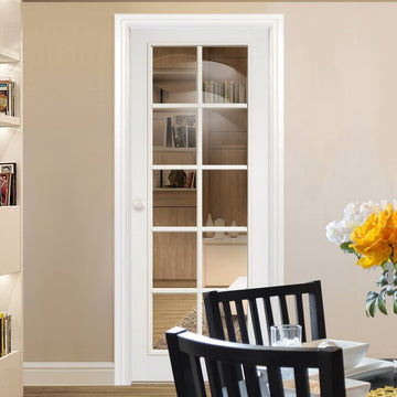 Moulded 10 Pane Door   Clear Glass   White Primed