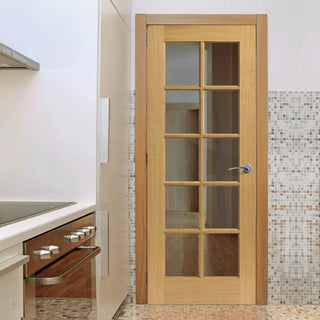 Image: Gisburn Oak Door - Clear Glass - Prefinished