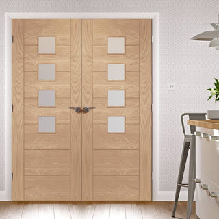 Image: Palermo Oak Fire Door Pair - Obscure Glass - 30 Minute Fire Rated