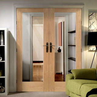 Image: FD30 Fire Pair, Pattern 10 Style Oak Door Pair - Clear Glass - 1/2 Hour Rated