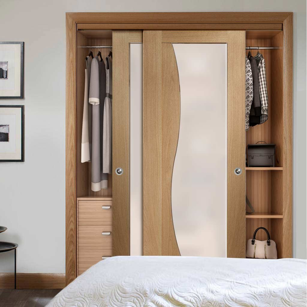 Bespoke Thruslide Emilia Oak Glazed 2 Door Wardrobe and Frame Kit - Stepped Panel Design