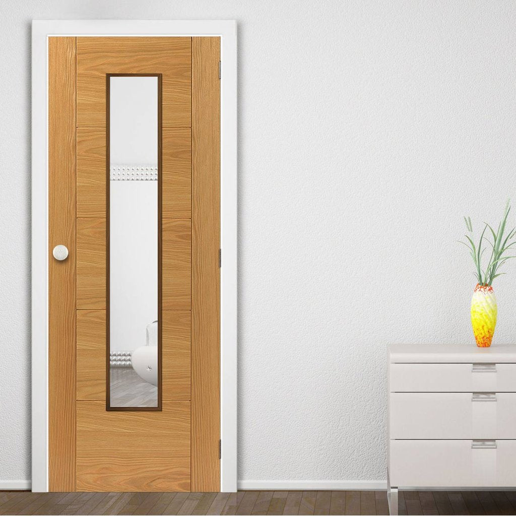 Emral Oak Veneered Fire Door - Clear Glass - 1/2 Hour Fire Rated - Prefinished