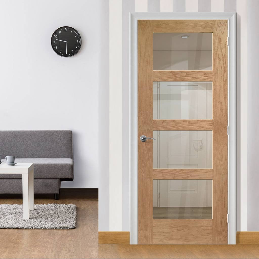 Bespoke Shaker Oak 4 Pane Fire Door - Clear Glass - 1/2 Hour Fire Rated