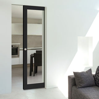 Image: Bespoke Industrial Single Frameless Pocket Door WK6351G - Clear Glass - 4 Prefinished Colour Choices