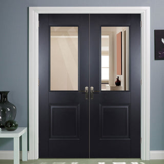 Image: Arnhem Black Primed Internal Door Pair with Clear Safety Glass