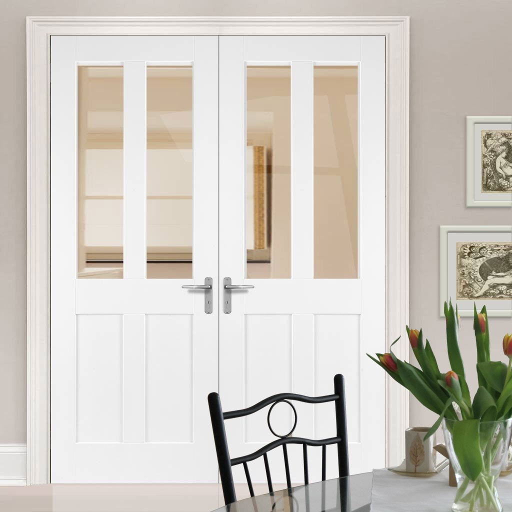 Bespoke Malton Shaker White Primed Glazed Door Pair