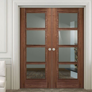 Image: LPD Joinery Vancouver Walnut 4 Pane Fire Door Pair - Clear Glass - 30 Minute Fire Rated - Prefinished