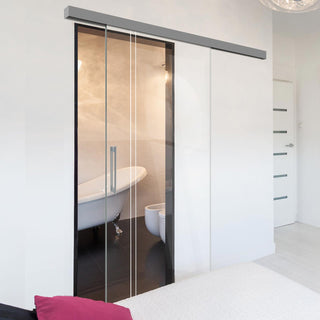 Image: Single Glass Sliding Door - Gogar 8mm Clear Glass - Obscure Printed Design - Planeo 60 Pro Kit