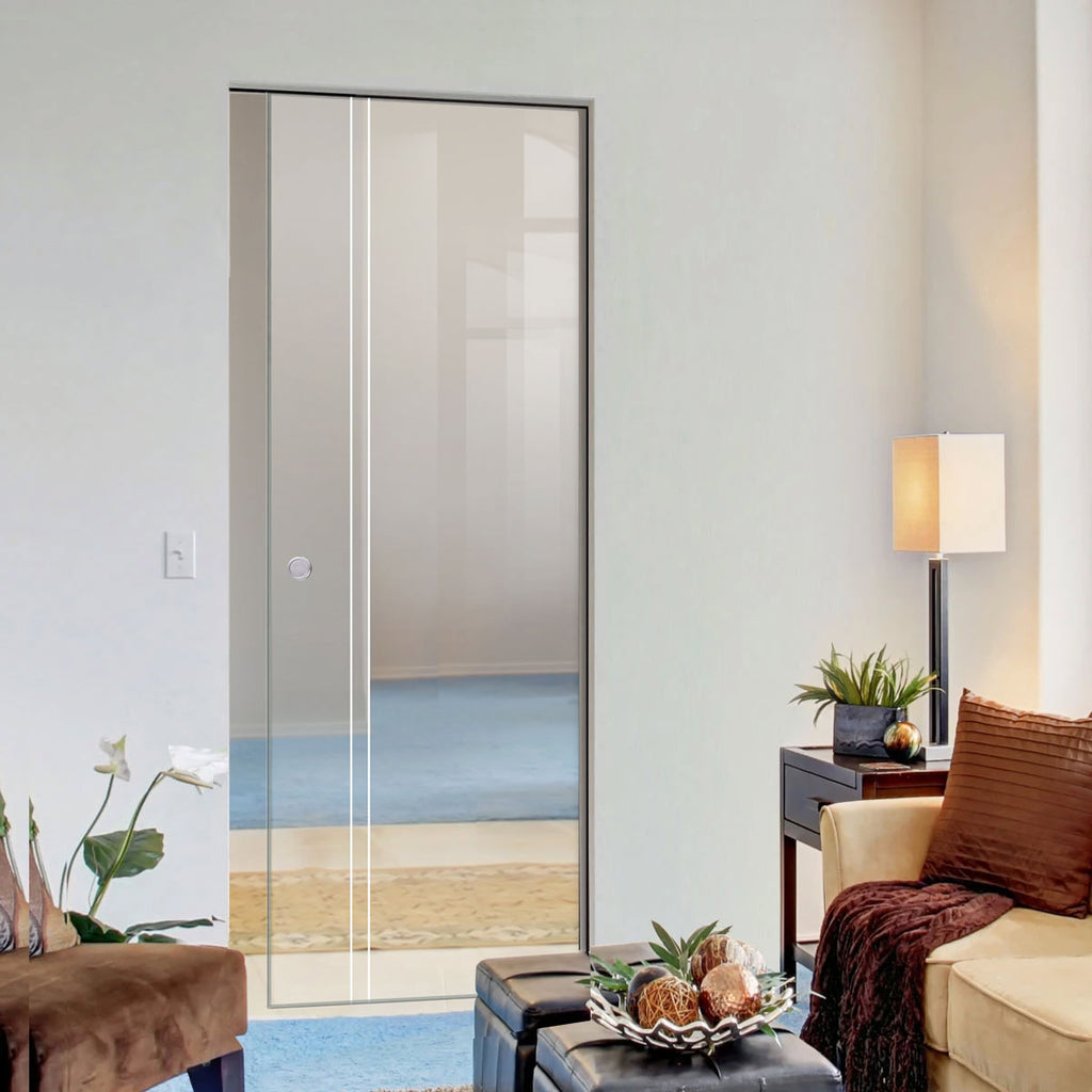 Gogar 8mm Clear Glass - Obscure Printed Design - Single Absolute Pocket Door