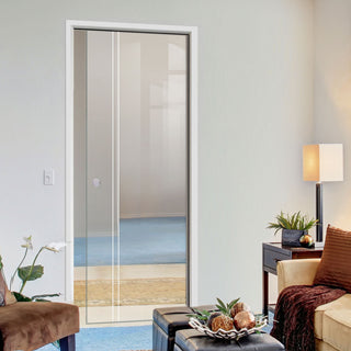 Image: Gogar 8mm Clear Glass - Obscure Printed Design - Single Evokit Glass Pocket Door