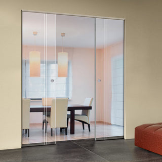 Image: Gogar 8mm Clear Glass - Obscure Printed Design - Double Absolute Pocket Door