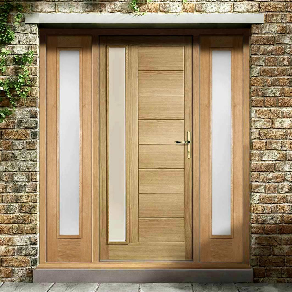 Goodwood Exterior Oak Door and Frame Set - Frosted Double Glazing - Two Side Screens, From LPD Joinery