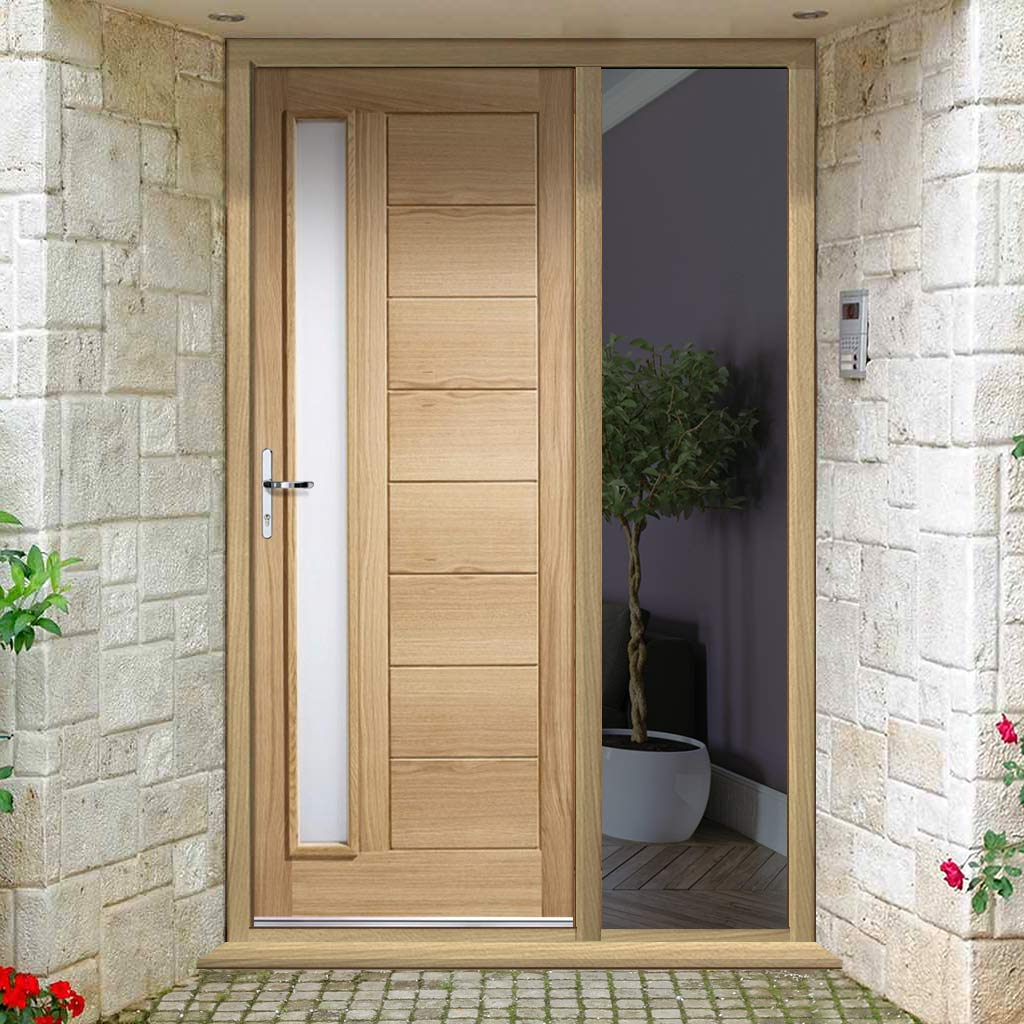 Goodwood Exterior Oak Door and Frame Set - Frosted Double Glazing - One Unglazed Side Screen, From LPD Joinery