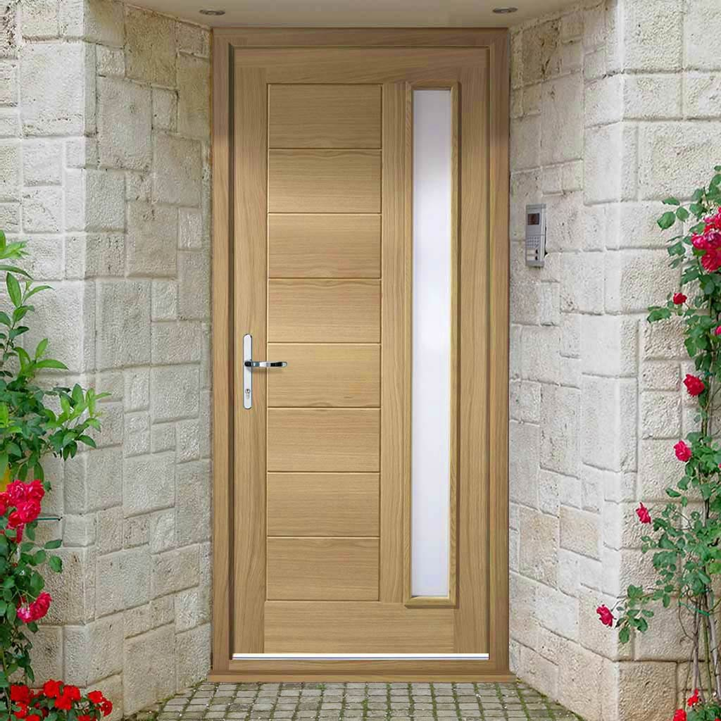 Goodwood Exterior Oak Door and Frame Set - Frosted Double Glazing, From LPD Joinery