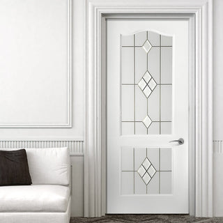 Image: White PVC classic door with grained faces 2 starburst style toughened glass