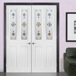 Image: Grainger Internal PVC Door Pair - Argyle Sandblasted Design Glass