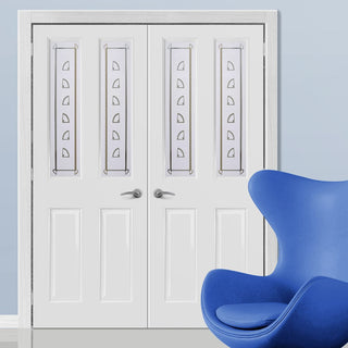 Image: Grainger Internal PVC Door Pair with Bancroft Sandblasted Design Safety Glass