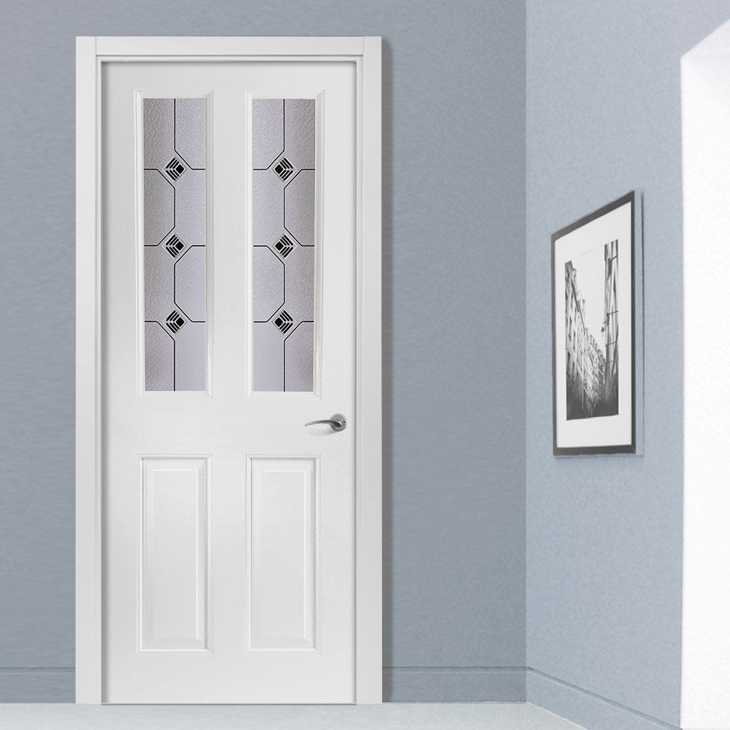 White PVC grainger door with grained faces decraresin 2 style toughened glass