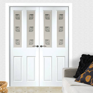 Image: Grainger Internal PVC Door Pair with Beaumont Sandblasted Design Safety Glass