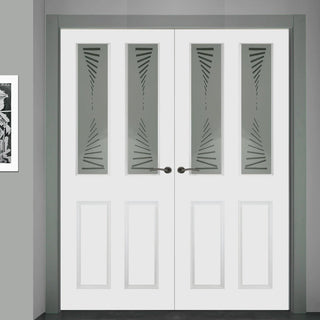 Image: Grainger Internal PVC Door Pair with Kincaid Sandblasted Design Safety Glass