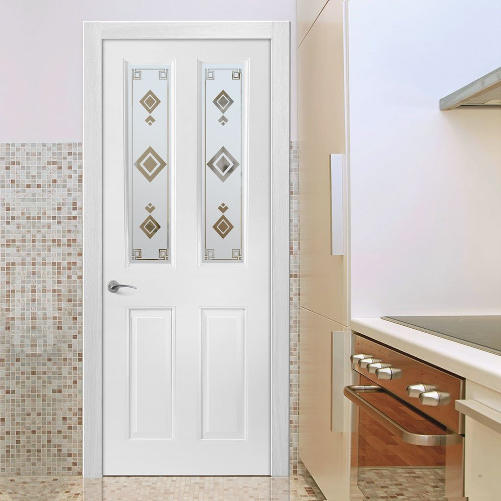 Grainger Internal PVC Door with Argyle Sandblasted Design Glass