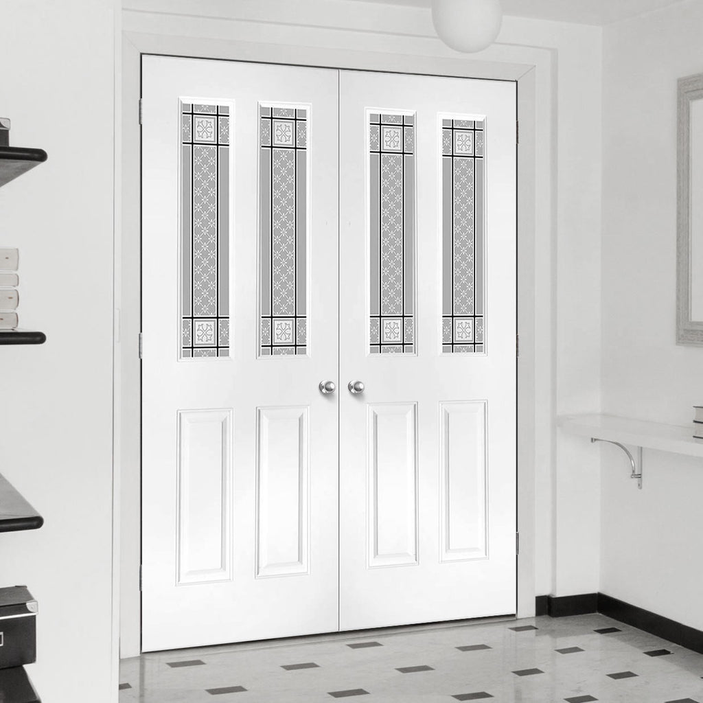 Grainger Grained PVC Door Pair - Victorian Style Glass