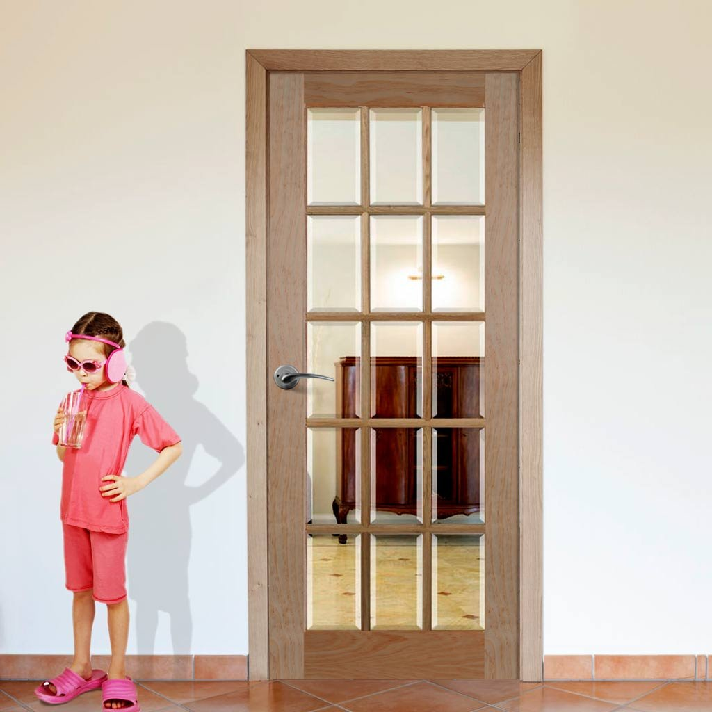 Door and Frame Kit - SA 15L Oak Door - Bevelled Clear Glass