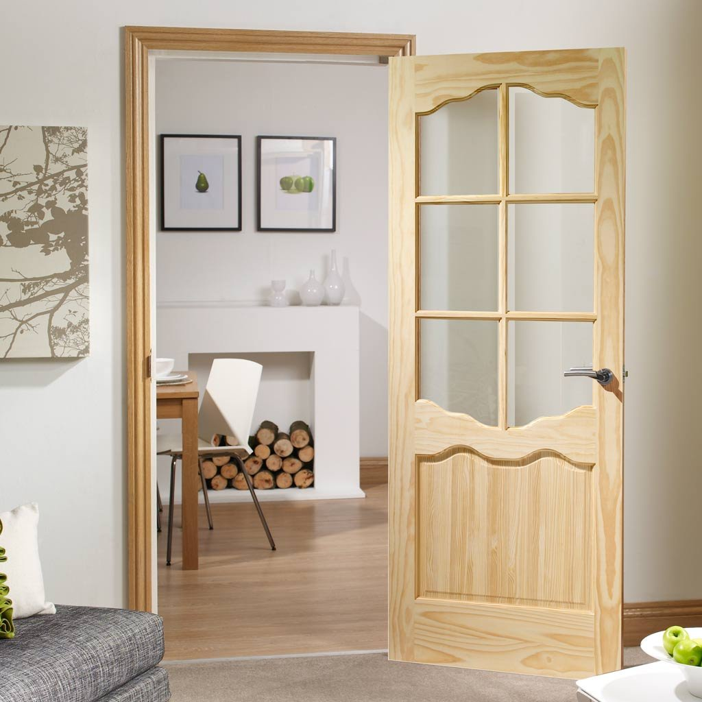 Riviera 6 Pane Clear Pine Door Clear Glass