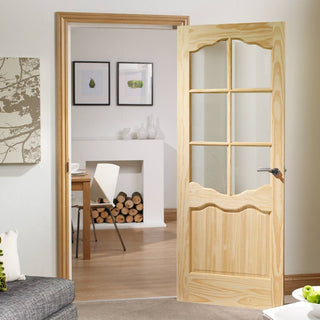 Image: riviera 6 pane clear pine door clear safety glass bac