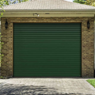 Image: Gliderol Electric Insulated Roller Garage Door from 1900 to 2134mm Wide - Green Fir