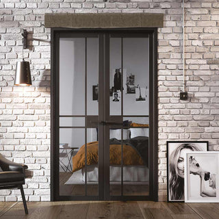 Image: W4 Greenwich Room Divider Door & Frame Kit - Clear Glass - Black Primed - 2031x1246mm Wide