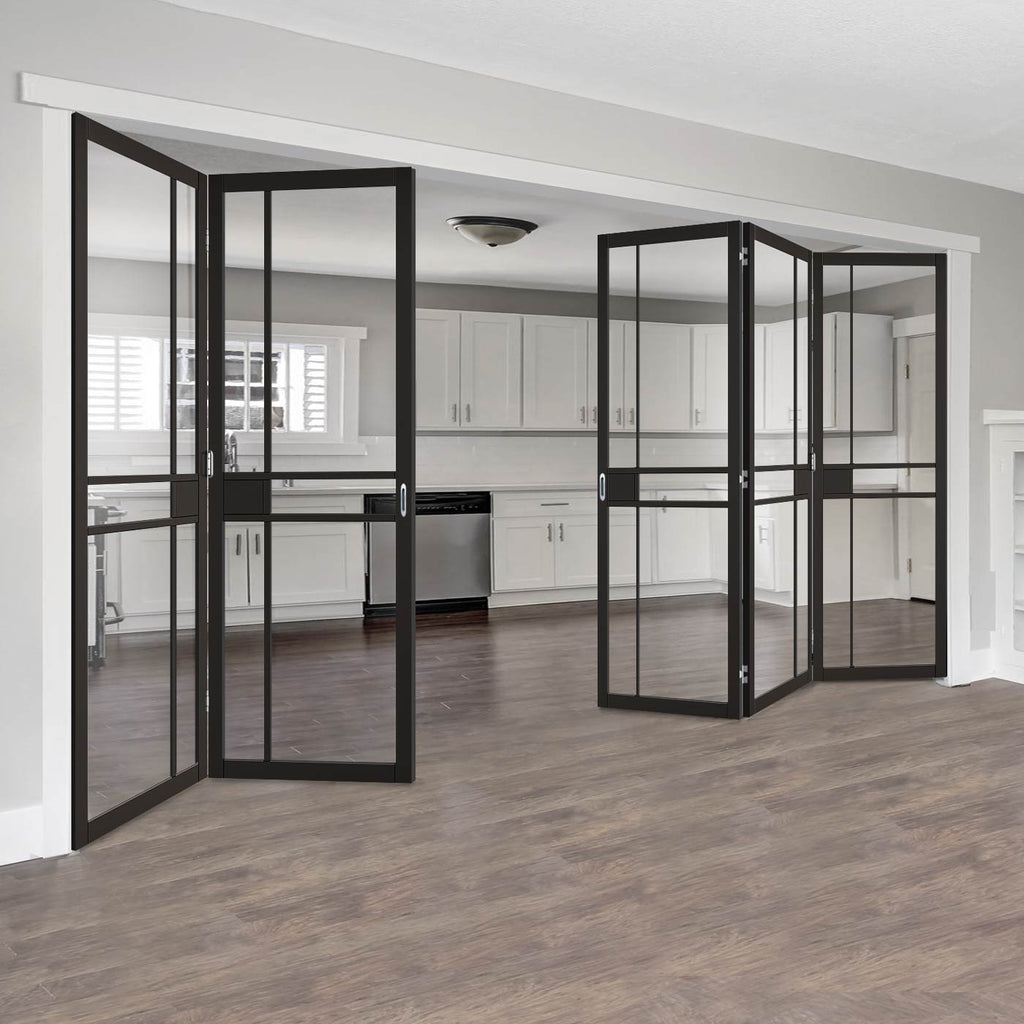 Five Folding Doors & Frame Kit - Greenwich 3+2 - Clear Glass - Black Primed
