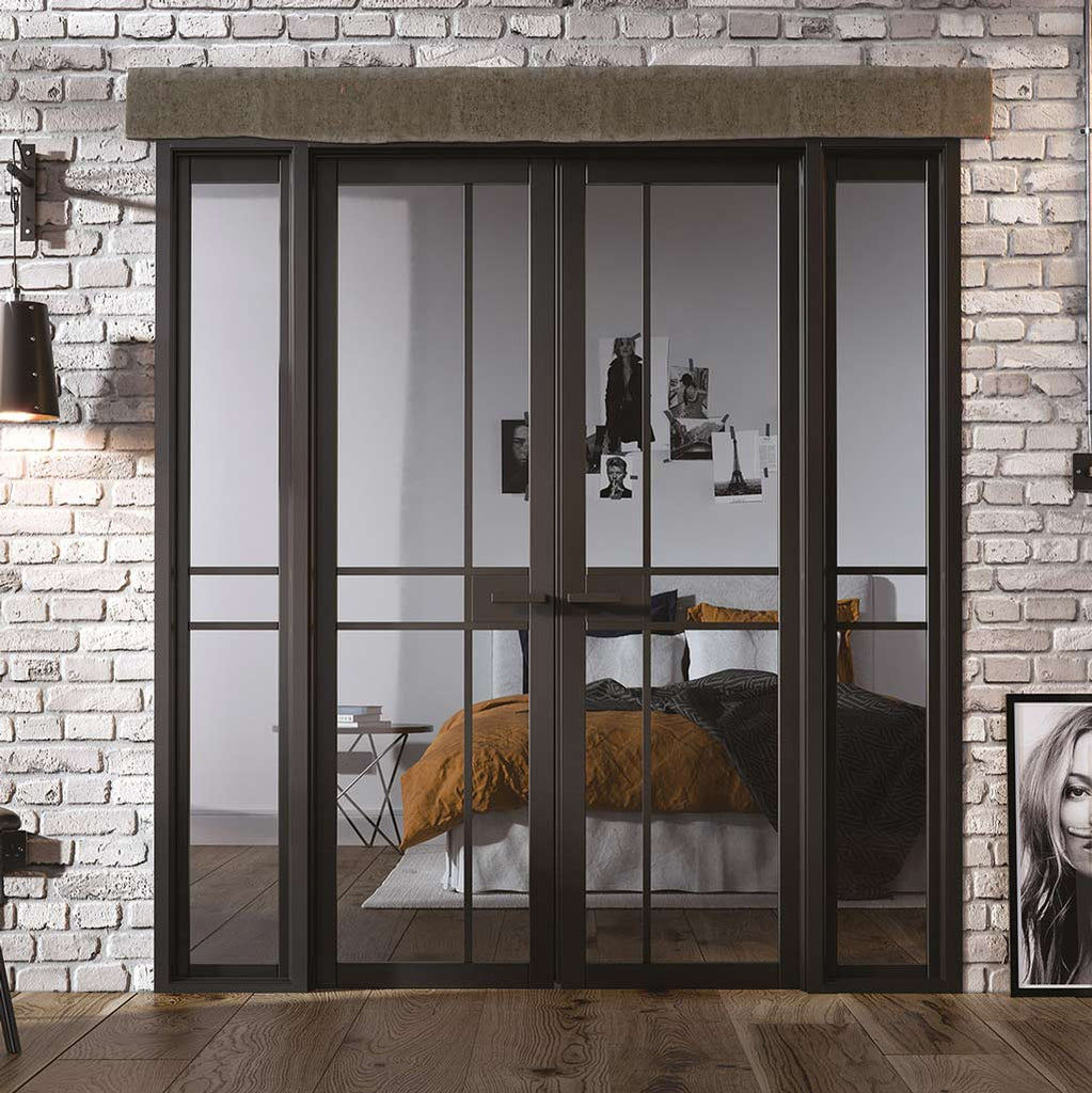 W6 Greenwich Room Divider Door & Frame Kit - Clear Glass - Black Primed - 2031x1904mm Wide