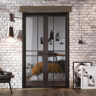Image: Greenwich Black Primed Door Pair - Clear Glass