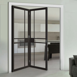 Image: Two Folding Doors & Frame Kit - Greenwich 2+0 - Clear Glass - Black Primed