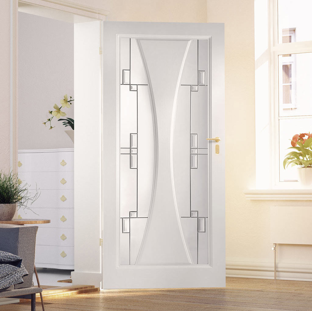 Gretna Lightly Grained PVC Door - Finlay Style Sandblasted Glass