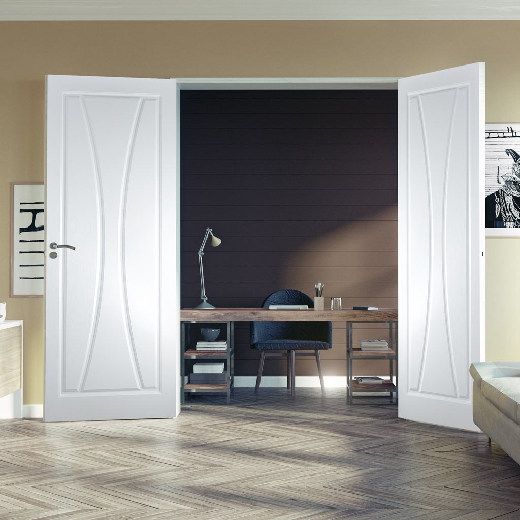Gretna Lightly Grained PVC Panel Door Pair