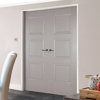 Image: Amsterdam 3 Panel Grey Primed Door Pair