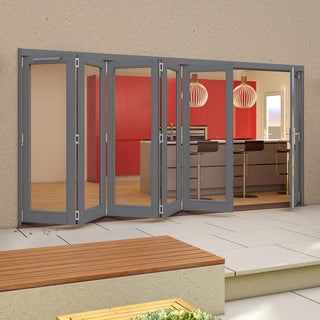 Image: Jeld-Wen Darwin Dusky Grey Painted Hardwood Fold and Slide Patio Doorset, GDAR485L1R, 5 Left - 1 Right, 4794mm Wide